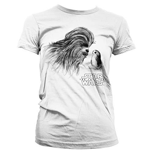 Star Wars The Last Jedi Camiseta - Mujer Blanca Chewbacca & PORG Pequeño - EUR 36 Blanco