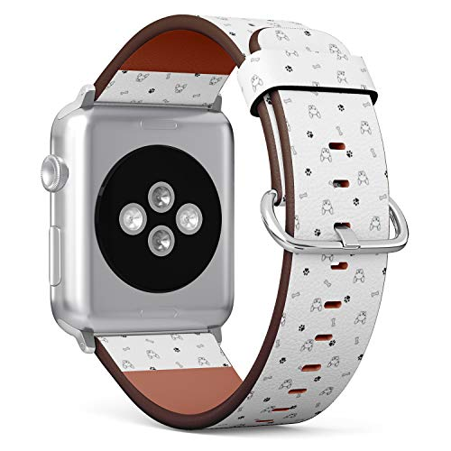 Compatible with Apple Watch (Big Version) 42 / 44mm Leather Wristband Bracelet with Stainless Steel Clasp and Adapters - Dog French Bulldog