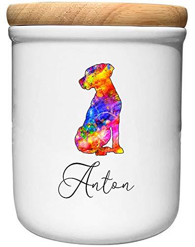 Cadouri Keramik Leckerli-Dose Labrador » personalisiert mit Name deines Hundes «┊Snackdose Keksdose Aufbewahrungsdose┊mit Holzdeckel