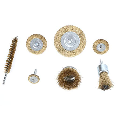 Professional Wire Brush Hardened Steel Wire Wire Wheel Brush Widely Used Long Service Life 7Pcs,for Household Mini Electric Drilling Grinding Machine