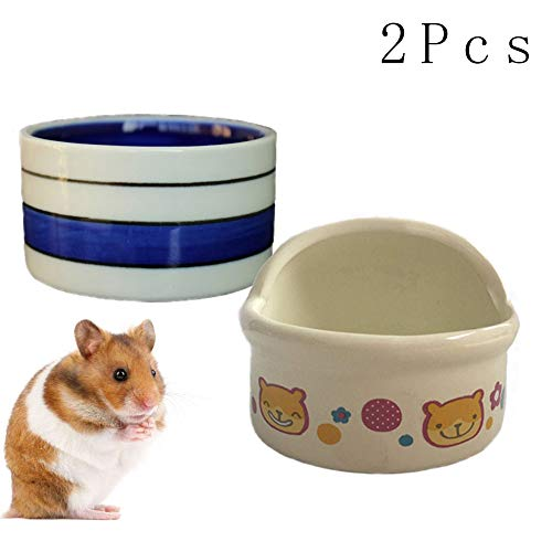 kathson Hamster Bowl, Food & Water Ceramic Bowl for Small Rodents Gerbil Hamsters Mice Guinea Pig Hedgehog and Other Small Animals(2 Packed)