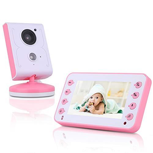 yjll Drahtloser Videobaby-Monitor 4 3-Zoll-LCD-Bildschirm Nachtsicht-Langstrecken-Temperaturüberwachungs-Zweiwegaudio,Pink-EUplug