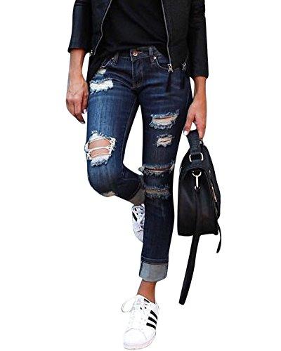 Moollyfox Femme Slim Destroy Troué Pantalons Jeans Déchirés Troué à Taille Haute en Denim Bleu Foncé L