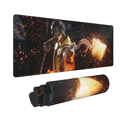 Bhutan Mortal Kombat Scorpion Large Mouse Pad-Extended Mouse Pad with Ultra-Fine Woven Fabric, Non-Slip Base, Waterproof Keyboard Pad, Suitable for Gaming Computers and Laptops, Black