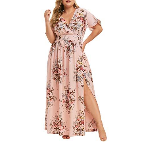 Pervobs Women Plus Size Long Dress Casual Summer Floral Print Boho Sleeveless V Neck Party Loose Maxi Dress Vestido(2XL, Pink...