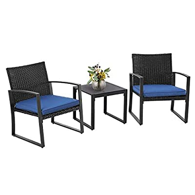 SUNCROWN Outdoor Furniture 3 Piece Patio Bistro Set Black Wicker Chairs and Glass Top Coffee Table, Nautical Navy Cushion