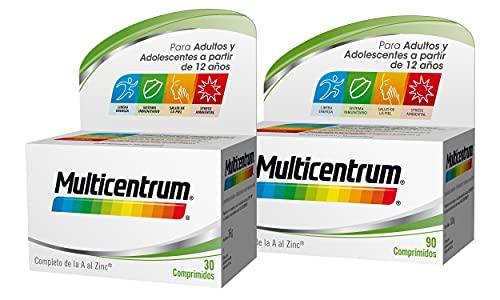 Multicentrum Complemento Alimenticio Multivitaminas con 13 Vitaminas y 11 Minerales, Sin Gluten, para Adultos y Adolescentes a Partir de 12 Años, Pack de 90 y 30 Comprimidos