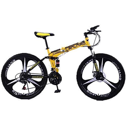 CNRRT Folding mountain bike 26'children's bicycle double suspension bike, 27-speed gear mountain bike (Color : H, Size : 21Speed)