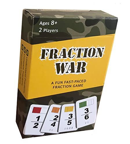 Fraction War Math Game - Fun Math Game to Learn, Compare and Simplify Fractions for 2nd Grade, 3rd Grade, 4th Grade, 5th Grade (1 Pack)