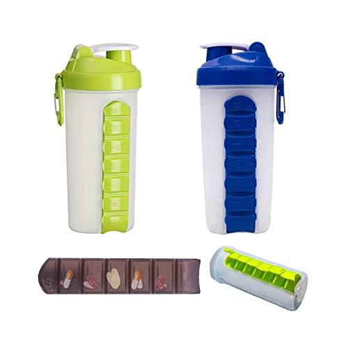 Organizador diario de píldoras con botella de agua, 600 ml 2 en...
