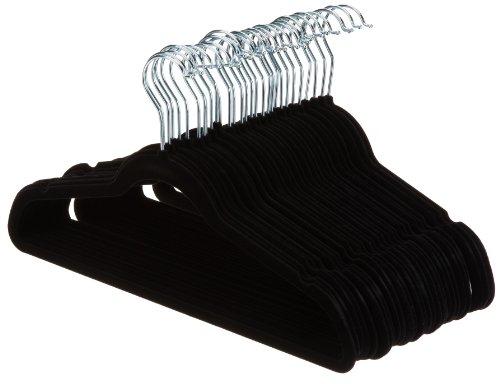 AmazonBasics - Perchas de terciopelo para trajes - Paquete de 30, Negro