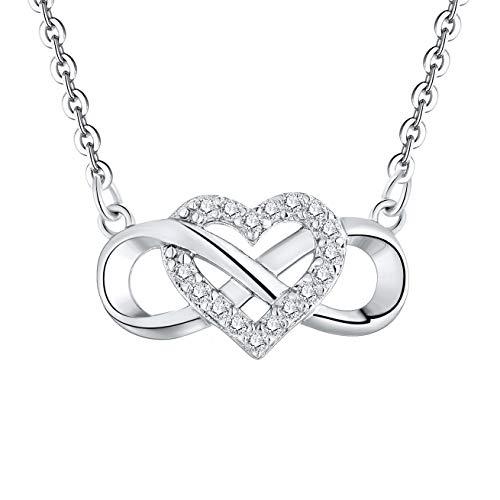 JO WISDOM Vrouwen Ketting,925 Sterling Zilveren Infinity Heart Hanger met 3A Kubieke Zirkonia