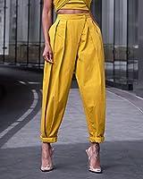 The Drop Pantalon pour Femme, Plissé, Structuré, à Enfiler, Jaune Citronnelle, par @signedblake, Taille XXS