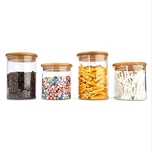 ALL EAZY HOME & KITCHEN Vorratsgläser 4er Set (2X 500ml + 2X 700ml) aus Glas mit Bambus-Deckel • Vorratsdosen Küche • BPA frei und ohne Plastik