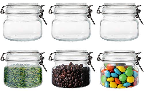 Nicunom Set of 6 Airtight Glass Canister with Lids, 17oz Food Storage Jar Glass Container with Airtight Bail & Trigger Hermetic Seal for Kitchen Canning Cereal, Pasta, Sugar, Beans