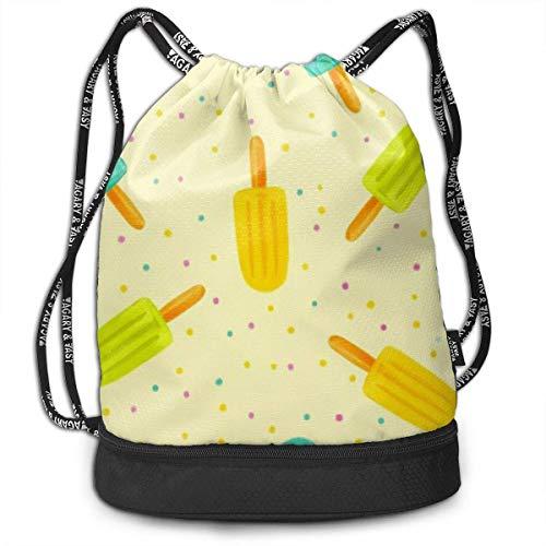 Leila Marcus Kordelzug-Rucksack, mit Kordelzug, Farbe Eiscreme Cinch Großpackung für Fitnessstudio, Trelling, Wandern