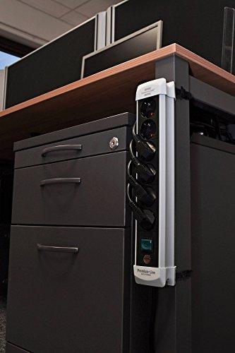 Brennenstuhl Premium-Line, Steckdosenleiste 6-fach (Steckerleiste mit Schalter und 5m Kabel - 45° Anordnung der Steckdosen, Made in Germany) schwarz/grau