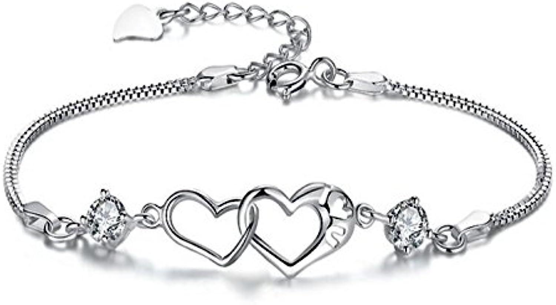 Univarc brand [manufacturer warranty comes with] silver bracelet double heart jewelry cross brand pouch bag warranty luxury 5piece set  Heart gift Ladies cute fashionable heart bracelet U00030