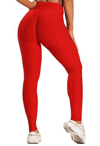 FITTOO Leggings Push Up Mujer Mallas Pantalones Deportivos Alta Cintura Elásticos Yoga Fitness Rojo XS