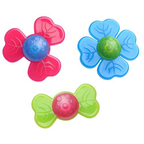 NUOBESTY 3Pcs Saugnapf Kreisel Spielzeug Spinner Spielzeug Baby Saugnapf Spielzeug Stressabbau Kunststoff Badewanne Spielzeug für Baby Kinder Mädchen Jungen