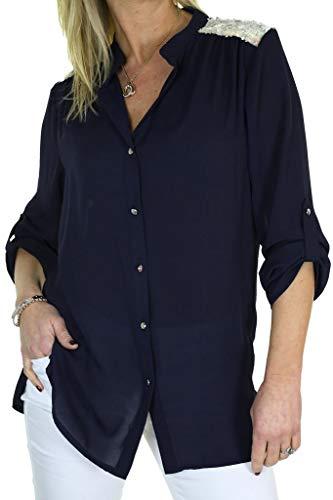 icecoolfashion Dames Chiffon Shirt Tuniek Top Pailletten Detail Navy Blauw 8-10