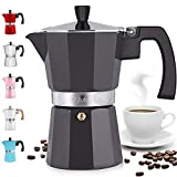 Zulay Classic Stovetop Espresso Maker for Great Flavored Strong Espresso, Classic Italian Style 5.5 Espresso Cup Moka Pot, Makes Delicious Coffee, Easy to Operate & Quick Cleanup Pot, Dark Gray
