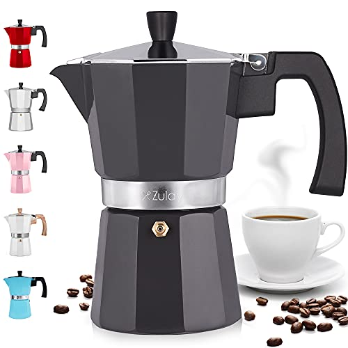 Zulay Classic Stovetop Espresso Maker for Great Flavored Strong Espresso, Classic Italian Style 5.5 Espresso Cup Moka Pot, Makes Delicious Coffee, Easy to Operate & Quick Cleanup Pot (Dark Gray)