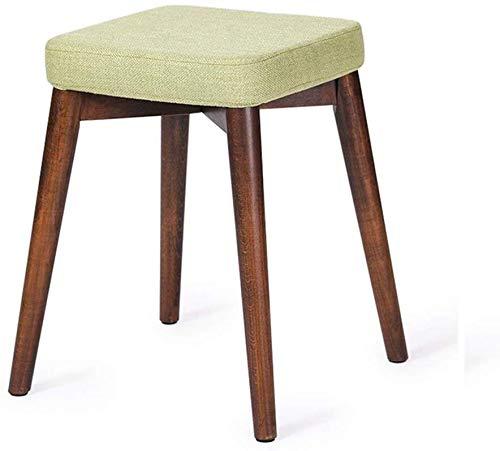 Xuping shop Mimbre Taburete tapizado del calcetín del taburete Taburete de madera con reposapiés cuadrado de Lucha contra el polvo for sillas de soporte Vestir Maquillaje heces tela verde cojines de l