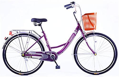 LJXiioo Vélo Beach Cruiser pour Femmes, vélo Confort Classique avec siège et poignées Noirs, Cadre en Acier, Freins à Main linéaires en Alliage,D,24IN