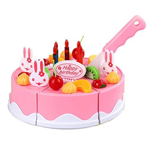 EqWong 1 Set Torte vorgeben Spielen Spielzeug, Rollenspielzeug Geburtstagstorte DIY Schneideset 38...