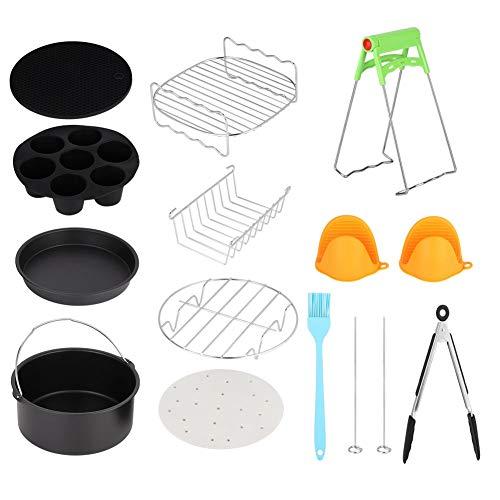 AUNMAS 7in Universal 12pcs Kits de freidora de Aire Caliente con Taza de Pastel Accesorios de Canasta de Pastel Acero Inoxidable Duradero de Grado alimenticio para Uso doméstico