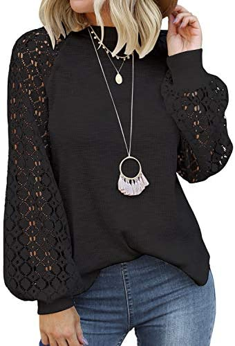 MIHOLL Women s Long Sleeve Tops Lace Casual Loose Blouses T Shirts Black X Large product image