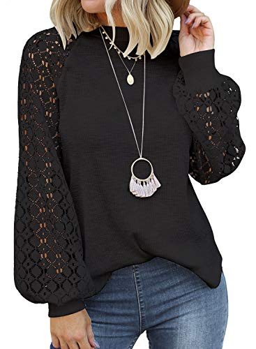MIHOLL Femme T Shirt Manche Longue Femme Chemisier Dentelle Col Rond Top Blouse (M, Noir)