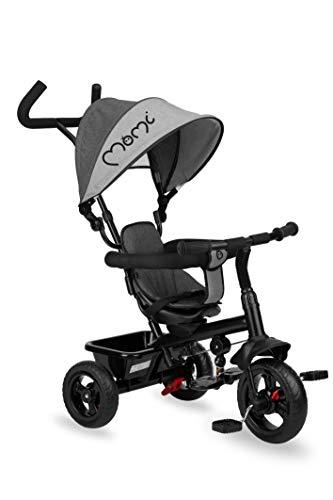 MOMI IRIS 5-in-1 Kinder-Dreirad mit Buggy-Funktion, für Kinder ab 9. Lebensmonat bis 5 J., Stabiler Rahmen, 360 ° Sitz mit 5-Punkt Sicherheitsgurt, Fußablage, Sonnendach, Räder aus PU, Schiebegriff