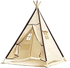 Lavievert Indian Canvas Teepee Children Playhouse Kids Play Tent for Indoor or Outdoor Play – Come with A Water Resistant Bottom Mat