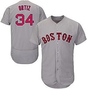 LUBANC Camiseta de béisbol Red Sox 34# Ortiz, Ropa Deportiva Suelta y cómoda, Camiseta de Baloncesto de Material Que no se decolora (M)
