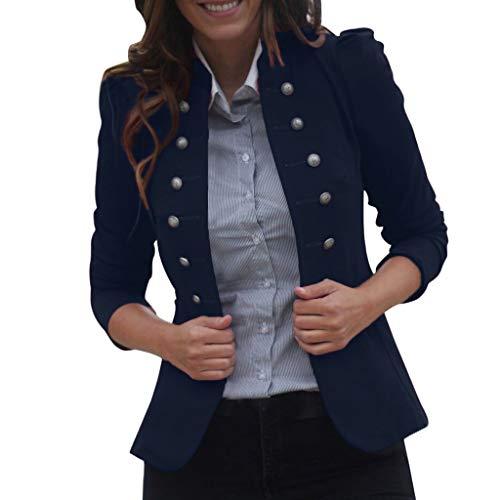 WUDUBE Cappotto delle Giacche dei Cappotti Uniforme Invernale da Donna (Blu, Medium)