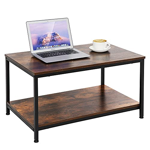 ZenStyle Industrial Coffee Table with Storage Shelf for Living Room, Wood Look Accent Furniture with Vintage Wooden Board Stable Metal Frame Cocktail Table 2-Tier Tea Table Easy Assembly, Rustic Brown