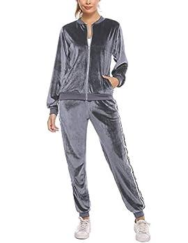 Sykooria Women Velour Sweatsuits Set Velvet Tracksuit Set Zipped Front Sweatshirts & Pants Sets Grey
