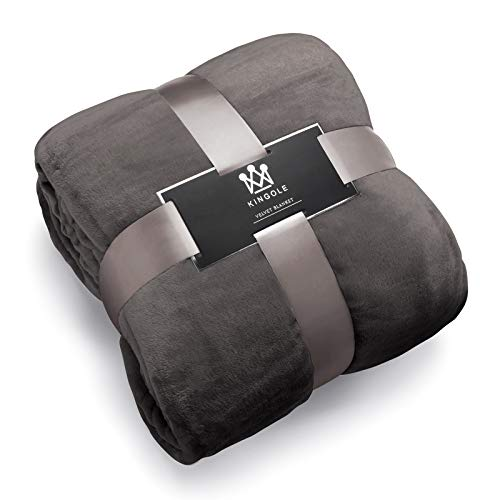 Kingole Flannel Fleece Microfiber Throw Blanket, Luxury Charcoal Grey Queen Size Lightweight Cozy Couch Bed Super Soft and Warm Plush Solid Color 350GSM (90 x 90 inches)