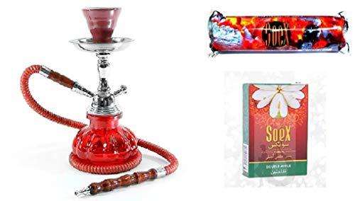 Klein Rot Huka Wasserpfeife für Shisha Smoking Pipe mit 1 Rolle Soex Holzkohle Kohle und 1 Schachtel Soex Doppelapfel 50 gr Kräuter Shisha - kein Tabak kein Nikotin
