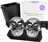 Crystal Clear Ice Skull Maker Mold for The Home Bartender. Make 2 Perfectly Clear, Slow-Melting Ice Skulls for Your Cocktails & Whiskeys