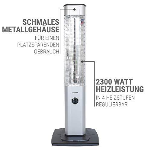 VASNER StandLine 25R – silber grau – Stand-Heizstrahler, 2500 Watt, Infrarotstrahler, Terrassenstrahler elektrisch - 8