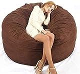 FGDSA Silla Bean Bag Sofá-Saco Bean Bag Sillapara Adultos Lazy Bean Bag Cover Solo Suministro con Cubierta Suave de Microfibra Muebles de salón (sin Rellenos) (Color: Negro)