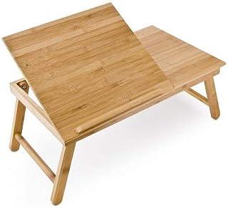 Relaxdays 10016734 mesa plegable con cajón de bambú 55 x