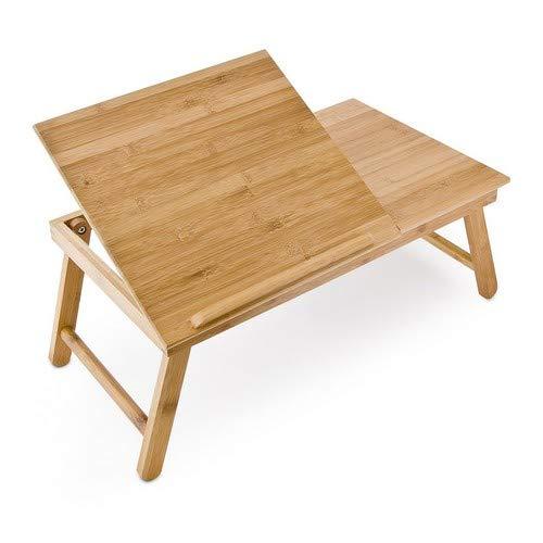Relaxdays Laptoptisch aus Bambus HBT: 24 x 55 x 33 cm Beistelltisch mit praktischem Fach für Stifte oder Notizen verstellbarer Computertisch als Knietisch und Betttisch Notebooktisch aus Holz, natur