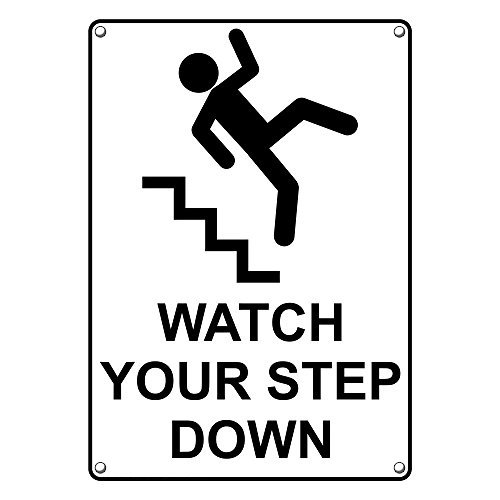 Weatherproof Plastic Vertical Watch Your Eng Online limited product Down Step Sign depot with