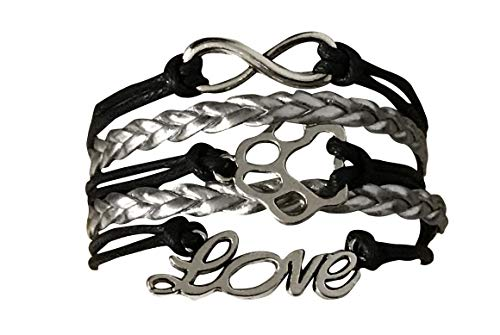 Paw Bracelet for Women, Paws Love Infinity Bracelet, for Dog & Cat Lovers and Owners