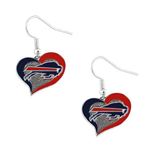 aminco NFL Buffalo Bills Swirl Heart Earrings, multicolor, one size (637-NFL-SH-DE-BB)