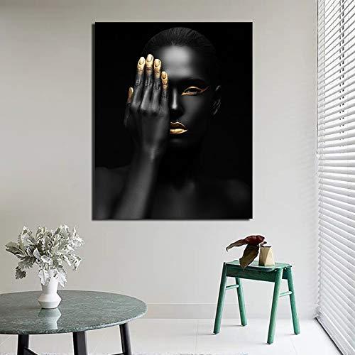 KWzEQ Cartel nórdico Chica Negra póster Lienzo Pintura Mural Mural Moderno Artista decoración del hogar,Pintura sin Marco,60x75cm